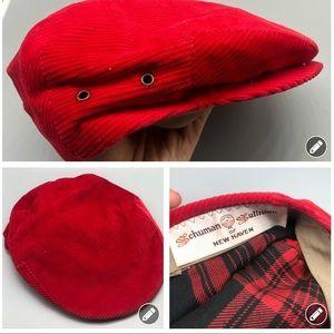 Vintage Schuman Sullivan red corduroy newsboy hat